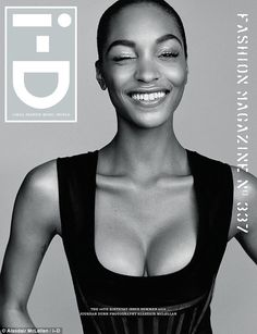 In the spotlight: Jourdan Dunn has also landed her own cover, looking stunning in a plungi...