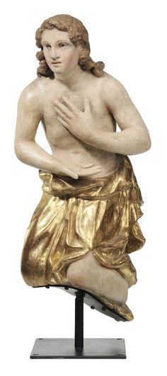 Lot 110 of our March 23, 2013 Auction - Italian School - (19th century) Kneeling Angel, carved, parcel gilt and polychromed wood, 32 in. - Estimate $1,000 to $1,500