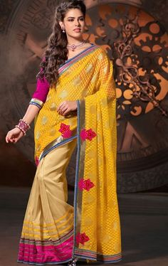 Picture of Melodic Beige and Orange Color Designer Saree for Party