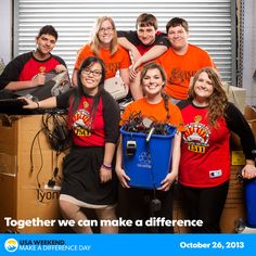 """Last year on Make A Difference Day at the FIRST Robotics competition, nearly 60 students from two high schools near Rochester took the extra step of holding a simultaneous """"Mega Drive"""". They collected food, books, old electronics for recycling, and 25 units of blood.   There are 9 more weeks until Make A Difference Day, have you registered your project yet?"""