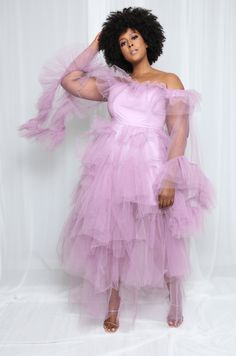 READY TO SHIP *SMALL TO 2X IN REGULAR SIZE. THEY ARE CUT SMALL READ THE SIZE BELOW. All eyes will be on you in this luxurious elegant Lavender tulle dress. Featuring; ruffle long sleeve tulle maxi dress. Off shoulder neckline Embroidered Sheer mesh Snap button gusset Stretchy. Perfect for Baby/Bridal shower; Birthday, cocktail, engagement and wedding. *Please make sure to check the size chat below because this dress is cut small in curvy size. *Only in Lavender * Fabric: 95% Nylon - 5% Spandex M Sister Costumes, Birthday Cocktail, Birthday Dresses, Pink Fabric, Tulle Dress, Hot Pink, Evening Dresses, Bridal Shower, Lavender