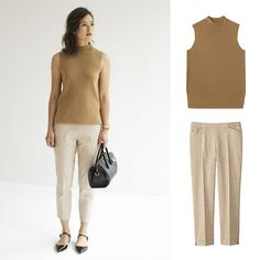 Going to work or just working it? The look: Milano Ribbed High Neck Sweater Linen Blend Cropped Pants Work Outfits, Kids Outfits, Cropped Pants, Khaki Pants, Classic Chic, Workwear, Uniqlo, Summer 2016, Street Fashion