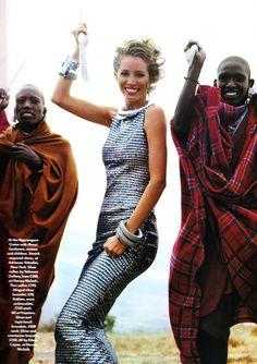 "Christy Turlington in Vogue UK, December 1991, by Arthur Elgort | ""Serengeti Dreaming..."""