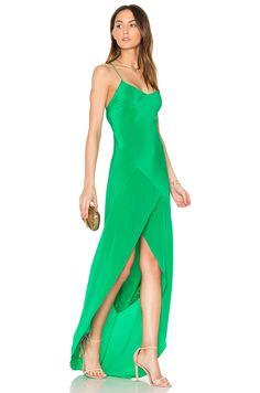 Michelle Mason Bias Ruffle Gown em Verde Kelly