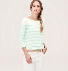 NWT ANN TAYLOR LOFT Crisp Seafoam Stripe & Polka Dot Sunwashed 3/4 Slv Tee Shirt #AnnTaylorLOFT #KnitTop #Casual