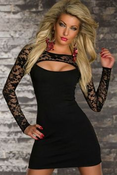 EAST KNITTING N-337 2014 New Bodycon Clubwear Elegant Dresses Women Sexy Lace long sleeve Bandage Dress Black Best quality
