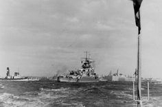 Graf Spee entering Montevideo after her battle with the British cruiser squadron in the River Plate.[744x44]