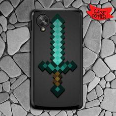 Minecraft Green Mint Sword Nexus 5 Black Case