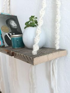 The big sister of our Macrame and Wooden Shelf, our Macrame Shelf 2 is another delicate macrame wooden shelf handmade with yarn. This piece is a soft, white in color & accented by quality rings for support. Hanging at approximately 18in wide (or 22in wide depending on your preference) & 18in