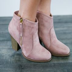 Charlotte Mauve Heel Booties - pink boots yes please!!!