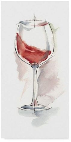 Trademark Global Ethan Harper Wine Glass Study IV Canvas Art 15 ich two Watercolor Flowers, Watercolor Paintings, Watercolour, Watercolor Food, Watercolor Ideas, Wine Glass Drawing, Wine Glass Candle Holder, Wine Painting, Wine Art