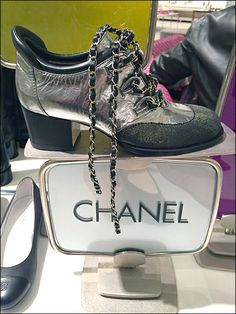 chanel shoe Chanel Goth Shoe Branded in Chains - shoetrend Goth Shoes, Retail Merchandising, Chanel Shoes, Shoe Brands, Logo Branding, Chains, Shoulder Bag, Bags, Display