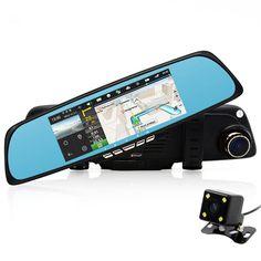 Junsun 6.8 Inch Touch Scree 1080P HD WIFI Dual Lens Car DVR Camera Video Recorder 1200Mega GPS