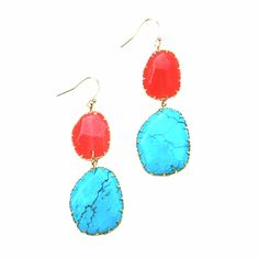 Coral & Turquoise Earrings from Paizlee.com