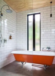 Modern Bathroom Design Trends 2020 Vibrant Colors of Bathroom Tiles Fixtures and Accessories Mid Century Modern Bathroom, Modern Bathroom Tile, Bathroom Red, Bathroom Floor Tiles, Dream Bathrooms, Bathroom Interior Design, 1950s Bathroom, Small Bathroom, Master Bathroom