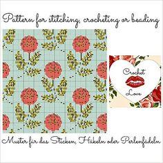 Vintage Garden: Pattern for stitching, crocheting or beading - Muster für das Sticken, Häkeln oder Perlenfädeln