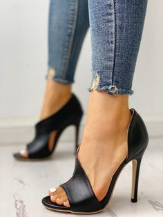 e653c99fd83b Rivet Embellished Hollow Out Buckle Peep Toe Pumps Heeled Sandals