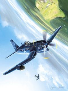 Corsair (aka the Whistling Death) equipped with radar on the right wing not sure of the background aircraft Ww2 Aircraft, Fighter Aircraft, Military Aircraft, Fighter Jets, Photo Avion, Aircraft Painting, Airplane Art, Ww2 Planes, Aircraft Pictures