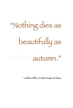 """~ Autumn ~ """"Nothing dies as beautifully as autumn."""" ~ Ashlee Willis, A Wish Made of Glass  #Quote"""