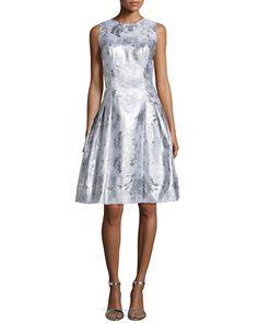 Sleeveless Pleated Jacquard Dress by Carmen Marc Valvo (=)