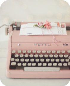 Type up those love notes on this baby pink Royal typewriter...