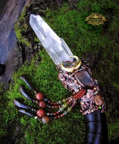 Crystal Wand Lemurian Quartz Marra Mamba Tiger Eye Labradorite Pagan Altar Art Reiki Ritual Bull Horn DIONYSUS MYSTERY by Spinning Castle by SpinningCastle on Etsy https://www.etsy.com/listing/223084892/crystal-wand-lemurian-quartz-marra-mamba