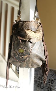 Long shape bag tribal leather raw edges by SweetSmokebags on Etsy
