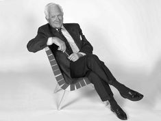 Jens Risom, 95 years old, relaxed on his iconic 1940s lounge chair. 2012. Via Knoll, 2012.More Risom received his training in Denmark and immigrated to the States in 1939. He had a big influence on American modernism. In 1941, he and fellow émigré Hans Knoll, just 23 and 24, took a cross-country research trip to see art and design. Risom developed 15 pieces for the first Knoll catalogue. The rest is history.