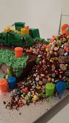 Garbage truck/tip cake. For my sons 3rd birthday