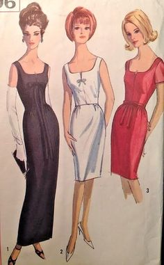 Vtg 1960s Simplicity 5706 Evening Gown Cocktail Sleeveless Dress Wiggle Bust 32  #Simplicity