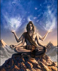 A depiction of Lord Shiva.  He is the god of constructive destruction.  One of the 3 members of the holy Trimurti.