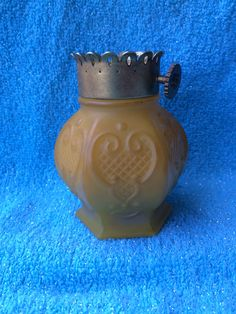 Vintage Avon Charisma Perfumed Talc Yellow Glass Bottle Missing top :(