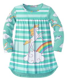 Take a look at this Sunshine Swing Turquoise Stripe Unicorn Tunic - Toddler & Girls today!