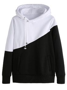 Color Block Hooded Sweatshirt With Pockets