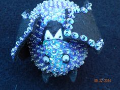 Halloween Bat sequined and beaded Ornament by NanaJansXmasCrafts