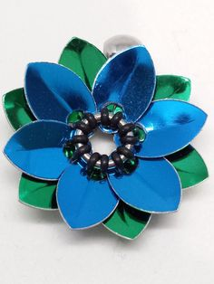 Blue Scalemaille Flower Chainmaille Pendant
