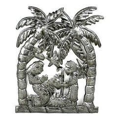 Palm Tree Nativity Wall Art Handmade and Fair Trade. Hand-cut and embossed from steel drums by Haitian artisans, this nativity features a palm tree design. It measures inches tall by 9 inches wide. Tree Sculpture, Wall Sculptures, Lion Sculpture, Sculpture Ideas, Drums Art, Oil Drum, Steel Drum, Tree Wall Decor, Art Decor