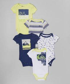 Love this Yellow & Gray Stripe Bodysuit Set - Infant by Quiksilver on #zulily! #zulilyfinds