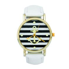 Our Striped Anchor Watch with White Leather Band makes for the perfect summertime watch.