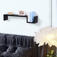Finether Modern S-Shaped Floating Wall Mount Shelf Bookshelf Display Rack Ledge, Decor, Wall Mounted Shelves, Shelves, Bookshelves, Floating Shelves, Floating Wall, Corner Shelves, Wood Plastic Composite, Corner Shelf Unit