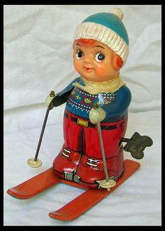 Antique Tin Skier Wind-Up Toy