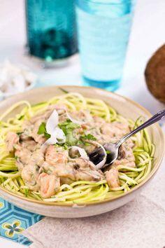 """Creamy Coconut Shrimp Over Zucchini """"Pasta"""""""