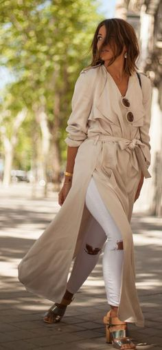 Floor Length Splited Beige Trench Outfit Idea by Lovely Pepa