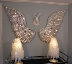 Project: Two large sculptural Silver Wings Dimensions: each wing approximately L x W x H Materials: Particle board, hand sculpted foam feathers, mirrored glasses, glas… Angel Wings Art, Angel Wings Wall Decor, Angel Decor, Angel Art, Bird Wings, Mosaic Art, Mosaic Glass, Diy Angels, Wing Wall