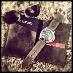 Bas and Lokes grey handmade leather passport cover wallet and Panerai Luminor 6152/1 on grey handmade leather watch strap.