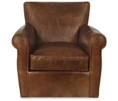 Boston Interiors Vincent Swivel Glider. The comfort and luxury of a leather club chair meets the pleasure of a swivel glider. Upholstered in an amaretto top grain semi-aniline leather with feather blend cushions for maximum comfort.