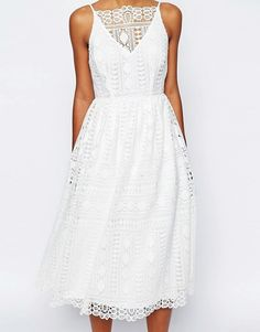 Buy ASOS PETITE Premium Occasion Midi Dress In Geo Lace at ASOS. With free delivery and return options (Ts&Cs apply), online shopping has never been so easy. Get the latest trends with ASOS now. Robes Midi, Moda Boho, Bohemian Mode, Asos Petite, Little White Dresses, Yes To The Dress, Silver Dress, Latest Fashion Clothes, Fashion Online