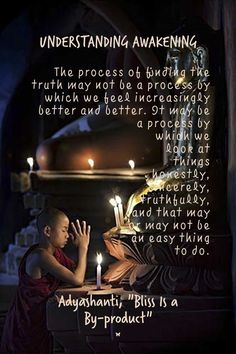 "UNDERSTANDING AWAKENING The process of finding the truth may not be a process by which we feel increasingly better and better. It may be a process by which we look at things honestly, sincerely, truthfully, and that may or may not be an easy thing to do. Adyashanti, ""Bliss Is a By-product"""