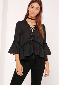 Missguided - Lace Up Frill Hem Blouse Black