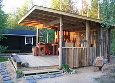 Your Outdoor Kitchen. Barbecue Grill and Prep Station. Rustic Outdoor Kitchen Design with Grill and Dishwasher. Outdoor Food Prep Station for Small Spaces. Outdoor Kitchen Décor with Clay Pizza Oven. Outdoor Kitchen Plans, Outdoor Kitchen Design, Backyard Bar, Backyard Retreat, Backyard Games, Bbq Shed, Rustic Outdoor, Outdoor Areas, Outdoor Food